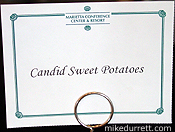 Photo: Menu card says ''Candid Sweet Potatoes.''