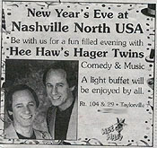 Photo: Taylorville, Illinois Breeze-Courier Newspaper Ad: ''Hee Haw's'' Hager Twins in person New Year's Eve.