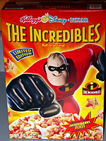 The Incredibles cereal box. Photo copyright 2004 Mike Durrett.