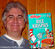 Mike poses with a test box of The Cat in the Hat Rice Krispies